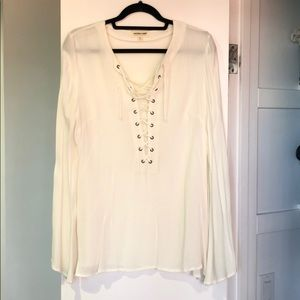 Flared sleeve tie up blouse